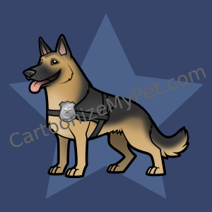 Cartoon German Shepherd K9 Unit Police Dog