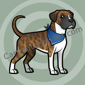 Cartoon Boxer with Natural Ears and Tail