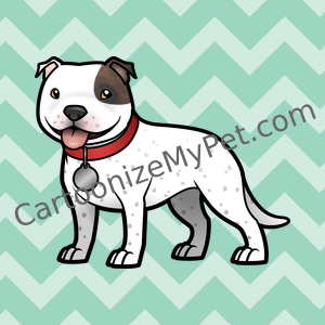 Cartoon Staffie with red collar