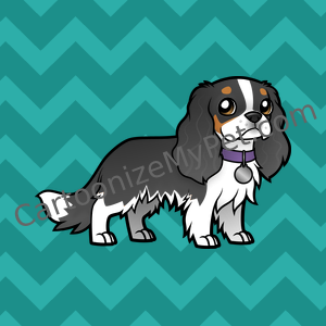 Cartoon Tricolor Cavalier King Charles Spaniel with Purple Collar