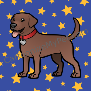 Chocolate Lab on starry sky cartoon