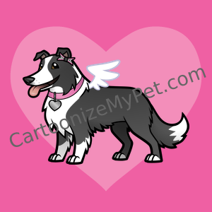 Cute border collie angel cartoon on a girly pink heart background