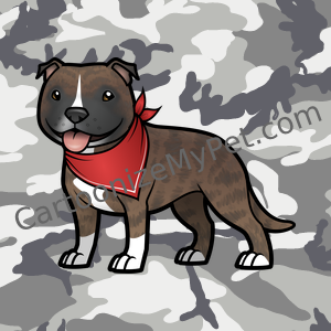 Cute Brindle Staffy with Red Bandana on Camo Background