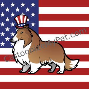 Sable Rough Collie on patriotic stars and stripes US flag