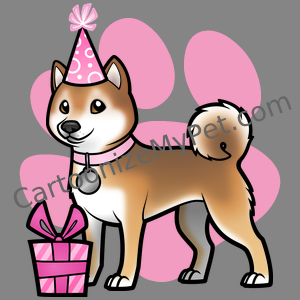 Girly Pink Happy Birthday Shiba Inu