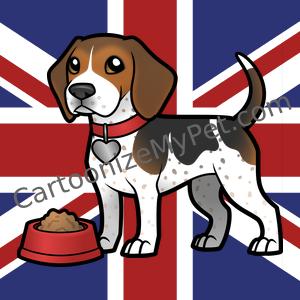 Ticked Beagle on Union Jack Background
