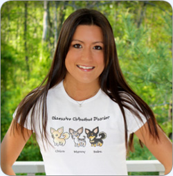 A combo shirt worn by Nikki from Obsessive Chihuahua Disorder