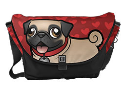 Headshot Pug Messenger Bag